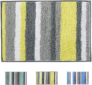 Buganda Shaggy Bath Rugs - Soft Non Slip Rubber Bath Mat Microfiber Thick Water Absorbent Bathroom Rug, Machine Washable (20 x 32 Inches, Yellow/Grey)