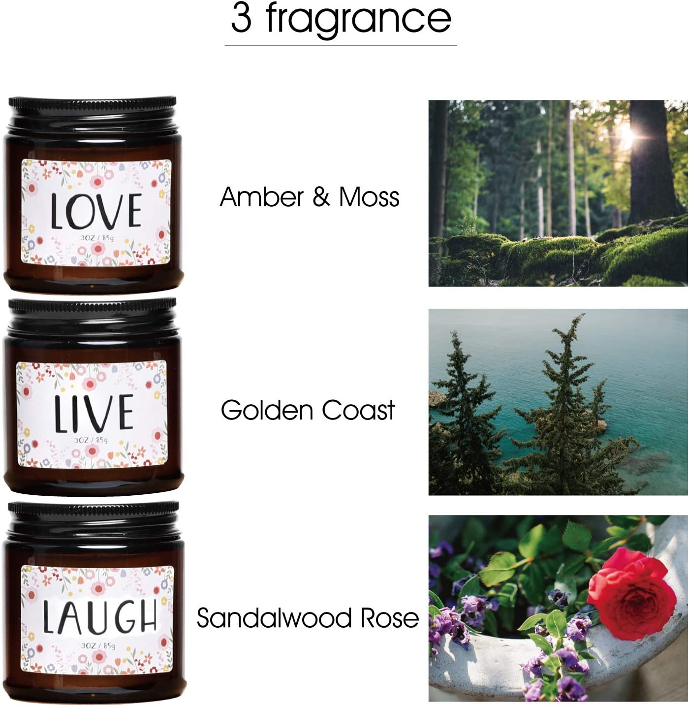 Unique Birthday Gifts for Friends Live Laugh Love 3 Pack 3oz Soy Wax Aromatherapy Candle Sister Her BFF Daughter Scented Candles Gift Set for Women