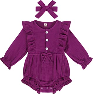 Eledobby Newborn Baby Girls Clothes Set Cute Solid Color Ruffles Romper Snap Jumpsuit 2pcs 0-24 Months