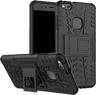 LiuShan Huawei P10 Lite Funda, Heavy Duty Silicona Híbrida Rugged Armor Soporte Cáscara de Cubierta Protectora de Doble Capa Caso para Huawei P10 Lite Smartphone(con 4 en 1 Regalo empaquetado),Negro