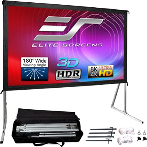 Elite Screens Yard Master 2, 100 inch Outdoor Projector Screen with Stand 16:9, 8K 4K Ultra HD 3D Fast Folding Portab...