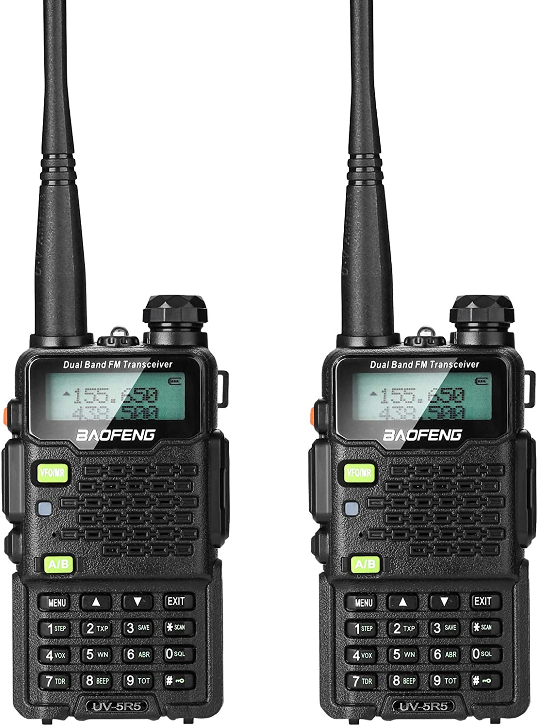 BAOFENG 2 Pack UV-5R5 5-Watt Dual Band Two-Way Radio (144-148MHz VHF & 420-450MHz UHF) Includes Full Kit with Large Battery: Car Electronics