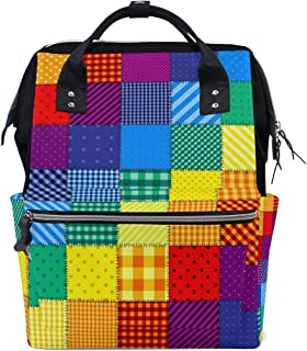 Laptop Backpack, Rainbow Colored Square Geometric with Diagonal Diaper Bag Backpack Travel Backpack for Women and Men