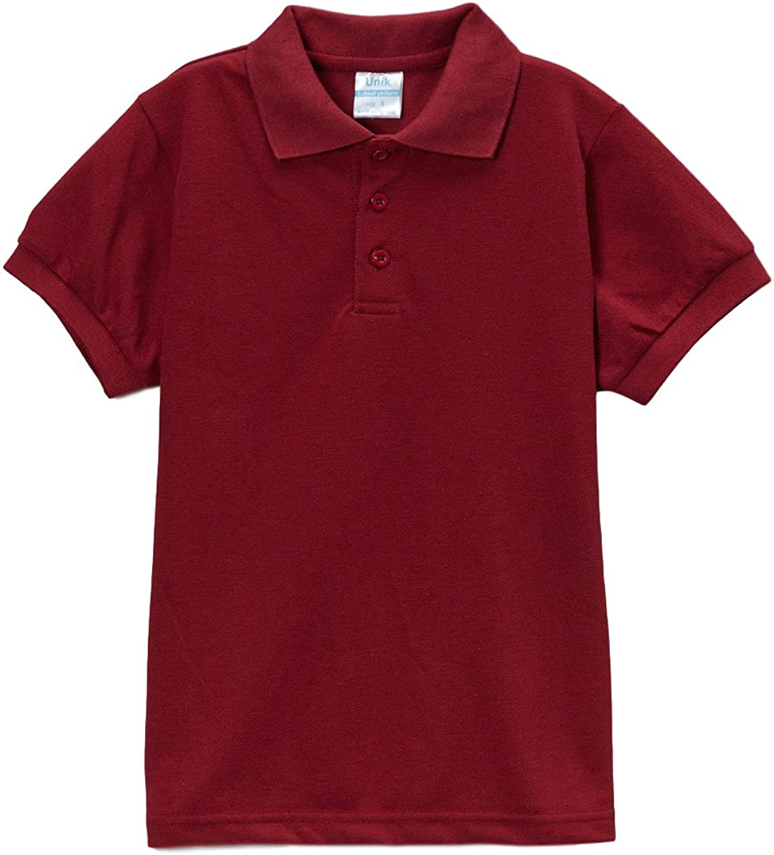 unik Boy's Uniform Pique Polo Shirt Short Sleeve White Sky Blue Navy Hunter Green Burgundy Black Red
