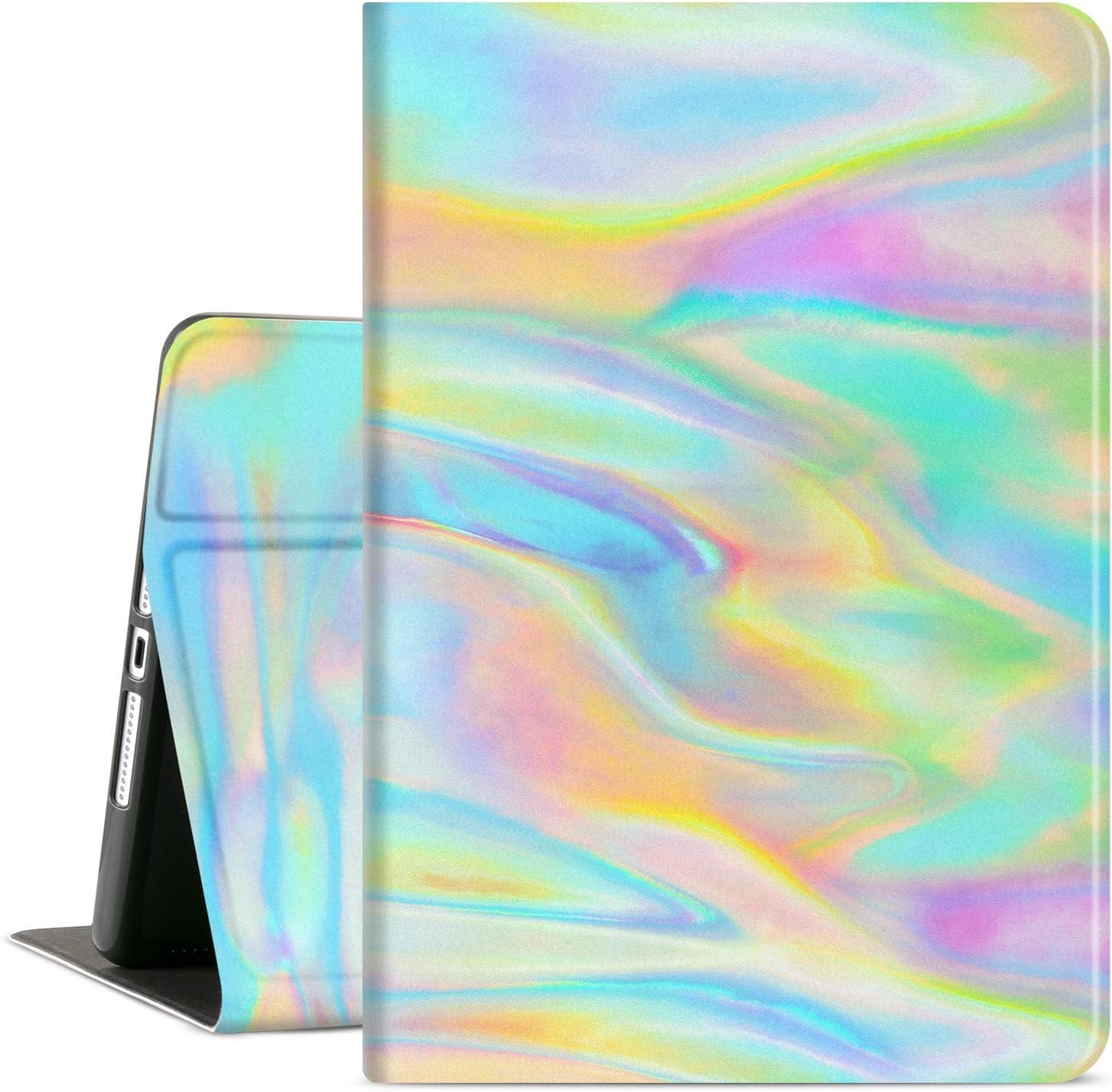 iPad 10.2 Case for iPad 9th Generation, iPad 8th Generation, Cutebricase iPad 7th Gen Case Rainbow, Multi-Angle View Adjustable Stand Soft PU Leather Back Cover Auto Wake / Sleep (Laser Rainbow)