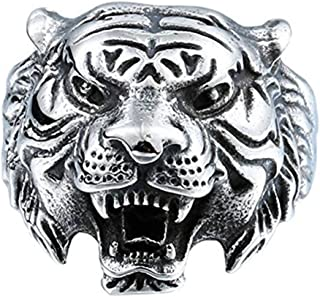 Men's 316L Stainless Steel Ring Band Vintage Gothic Tribal Biker Tiger Head Rings Animal Design Silver/Black/Glod/White Size 7-13