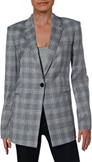 Womens Power Check Print Business One-Button Blazer