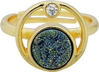 Nupuyai التيتانيوم مطلي Druzy Stone خواتم للنساء والرجال، قابل للتعديل كريستال كوارتز خاتم إصبع للجنسين