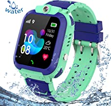 PTHTECHUS Kids Waterproof Smart Watch Phone, LBS/GPS Tracker Wrist Watch with SOS Alarm Clock Camera Touch Screen Smartwatch for 3-12 Year Old Children Girls Boys Compatible for Android iOS (Blue)