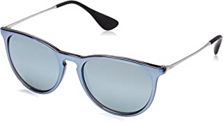 RAY-BAN RB4171 Erika Round Sunglasses, Grey Mirror Flash Grey/Silver Mirror, Green Mirror Silver
