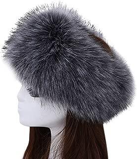 Women's Luxurious Faux Fur Headband Elastic Warm Earmuff Snow Headwrap Hat Dark Grey