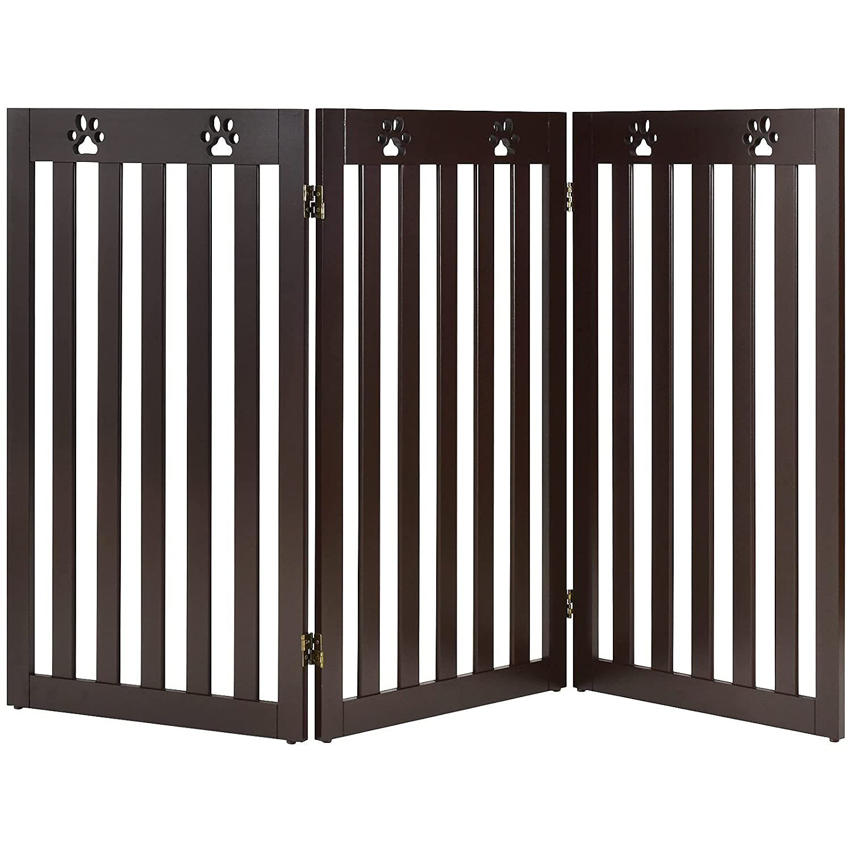 Giantex Wooden Freestanding Pet Gate Lar Panel-36 最安値 3 世界の人気ブランド Height inch