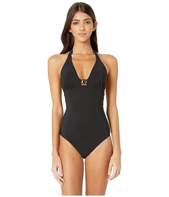 Tory Burch Swimwear Gemini Link One-Piece (Black) Women