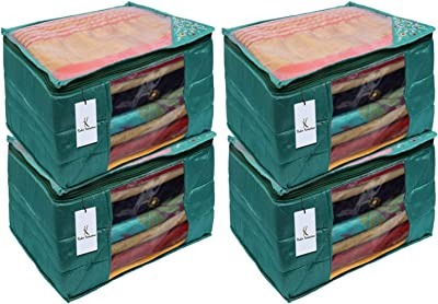 Heart Home 3 Layered Quilted Silk 4 Pieces Saree Cover (Green) - CTHH21531