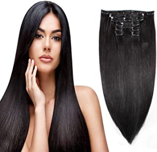 Uya hair Human Hair Clip on Extensions Double Weft 18