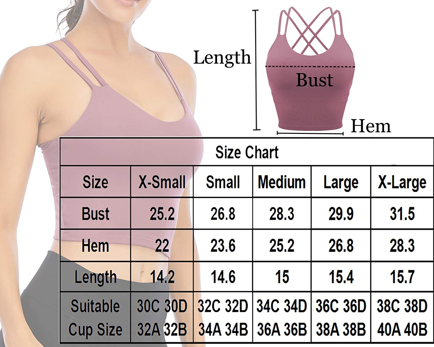 Padded Sports Bra for Women Workout Fitness Running Crop Yoga Tank Tops with Built in Bra Camisole Longline Shirts
