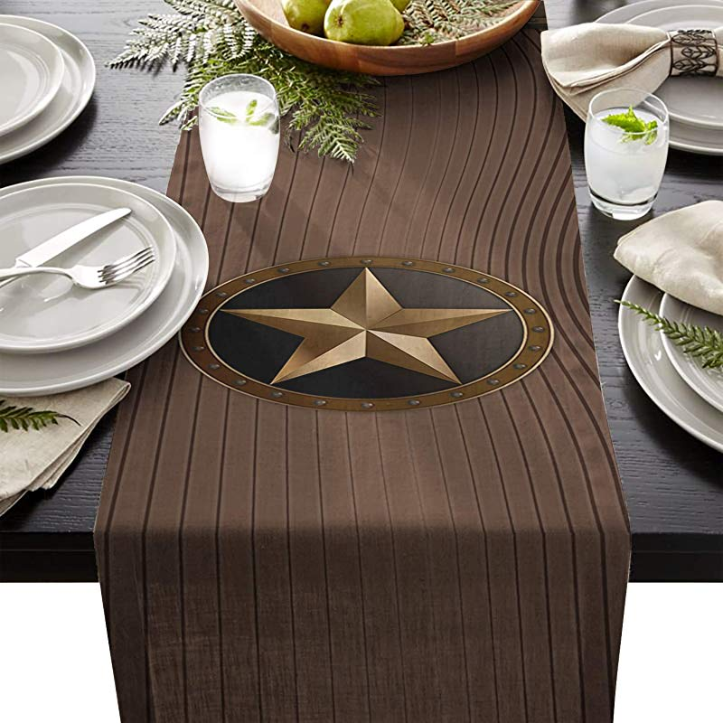 Cloud Dream Home Western Texas Star Table Runner For Morden Greenery Garden Wedding Party Table Setting Decorations 13x70inch