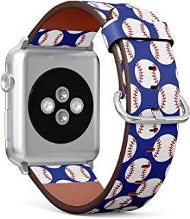 Compatible with Big Apple Watch 42mm & 44mm Leather Watch Wrist Band Strap Bracelet with Stainless Steel Clasp and Adapters (Baseball)