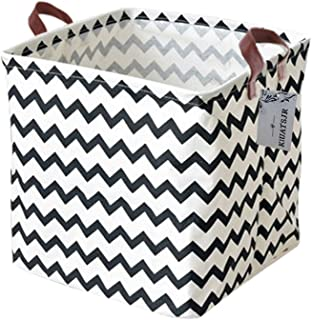 Square Storage Bins Canvas Collapsible Storage Basket with Handles Toy Organizer for Nursery, Kid's Toys, Closet & Laundr...