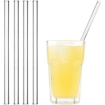 HALM Pajitas de cristal reutilizables ecológicas - 4 piezas de 23 cm + cepillo de limpieza ecológico - apto para lavavajillas - Sostenible - Pajitas de vidrio para batido, cóctel, smoothie