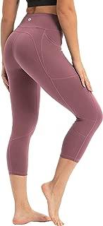 coastal rose Women's Yoga Pants 3/4 Workout Leggings Crop Sports Tights with Side Pocket