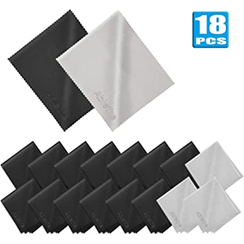 18 Pack Premium Microfiber Cleaning Cloths, Lintfree Fiber Cleaning Cloth for Cleaning Lenses, Glasses, Glass, Screens, Cameras, Cell Phone, Eyeglasses, LCD TV Screens, Tablets and More …