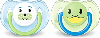 Philips Avent Orthodontic Pacifier, 6-18 months, Blue Animal Designs, 2 pack, SCF182/14, Blue Animals