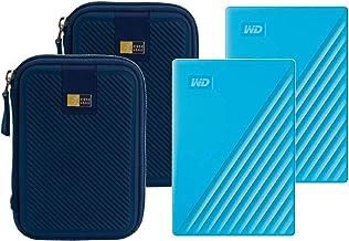 2 WD 4TB My Passport USB 3.2 Gen 1 External Hard Drive (2019, Sky) + 2 Compact Hard Drive Cases (Blue)