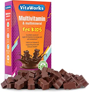 VitaWorks Multivitamins for Kids Chocolate Vitamin Chew – GMO-Free – Great Tasting Milk Chocolate Flavored Treat w/Vitamin...