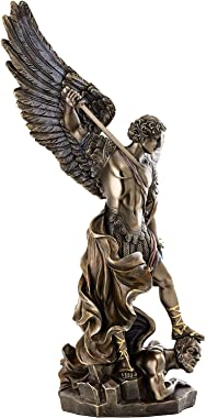 Veronese Design 14.5 Inch Archangel St. Michael Tramples Demon Religious Sculpture Defeating Lucifer Collectible Angel Figuri