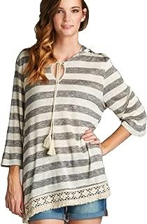 Jodifl Women's Boho Striped Hi-Low Hoodie Crocheted Lace Hem Top