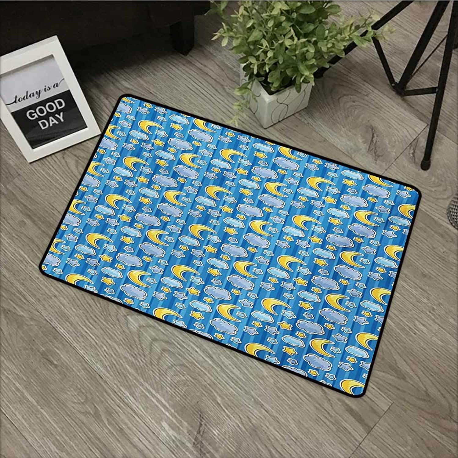 Clear printed pattern door mat W35 x L59 INCH Baby,Abstract Skyline with Stars Clouds and Crescent Moon greenical Striped Backdrop Doodle,bluee Yellow Non-slip, with non-slip backing,Non-slip Door Mat C