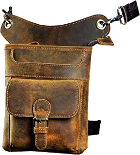 Le`aokuu Mens Genuine Leather Messenger Riding Hip Bum Waist Pack Drop Leg Cross Over Bag (211-12 dark brown)