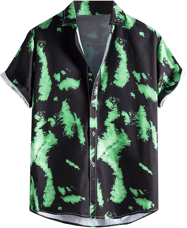 Mens Hawaiian Printed Aloha Shirts Short Sleeve Button Down Casual Holiday Summer Shirt V315