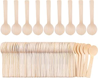 Cooraby 150 Pack Mini Wooden Spoons Ice Cream Dessert Spoons Disposable Eco-Friendly Biodegradable Compostable Set for Parties, Events and Weddings (150)