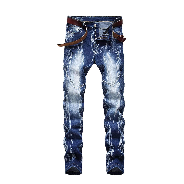 Men's Trust Stitching Moto Biker Blue Limited price Multi-Color Straight Jeans Pants
