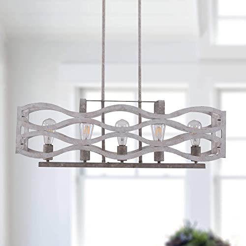 high quality Kitchen Island Lighting, 5-Light Farmhouse Linear Chandelier, Pendant Light sale Fixture for Kitchen, Dining Room, Distressed sale White online sale