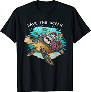 Save The Ocean Sea Turtle Coral Reef Environmental Gift T-Shirt