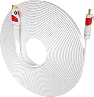 Flat HDMI Cable Postta 50 Feet Flat HDMI 2.0 Cord Support 4K, Ultra HD, 3D, 2160p, 1080p, Ethernet and Audio Return-White-Red