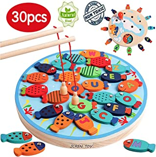JCREN 30PCS Magnetic Fishing Game Toddler Wooden Toy with 2 Magnet Fishing Rods for Girl Boy - Preschool Alphabet Magnet ABC Letters Fish Catching Counting Board Games Montessori Education Math Toy