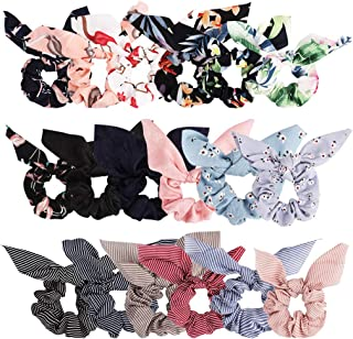 Bow Scrunchies For Hair, 18 Pcs Chiffon Satin Scrunchies Silk with Bow Scarf, Solid Stripe Flower Color Bow Scrunchies