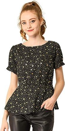 Allegra K Camisa Peplum Estampado De Estrellas Y Lunares Brillantina Top Casual Cuello Redondo Manga Corta para Mujeres