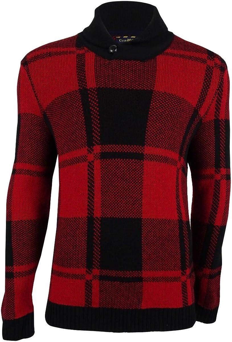 Club Room Men's Shawl-Collar Plaid Sweater