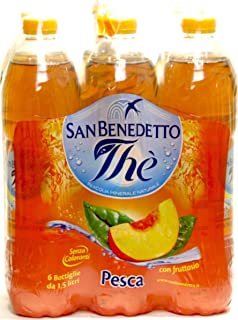 San Benedetto Peach Iced Tea - (Imported from Italy) Big 1.5 Liter/ 50.55 Oz Plastic Bottle (Pack Of 6)