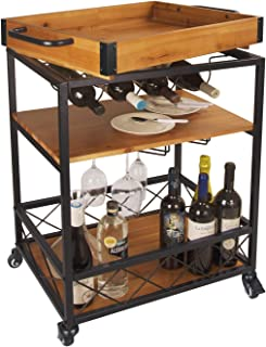 LEVE 3 Tiers Solid Wood Kitchen Serving Cart Rolling Bar Buffet Cart with Bottle and Goblet Holder 24