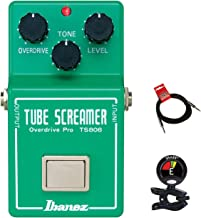 Ibanez TS808 Original Tube Screamer Overdrive Distortion Guitar Effects Pedal with Tone Overdrive and Level Controls with Clip on Guitar Tuner and Instrument Cable