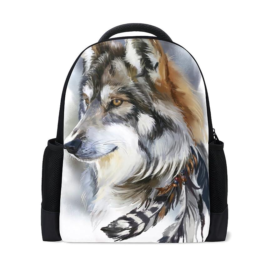 アブストラクトラブより平らなAOMOKI バッグ リュックサック リュック 男女 兼用 旅行 大容量 プレゼント ギフト 水彩 オオカミ