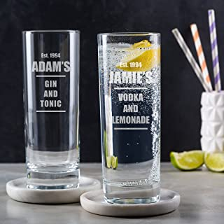 Personalized Engraved Glass - Engraved Highball Glass - Personalized alcohol Gifts - 21st Birthday Gifts for Men - Personalized Gifts for Him