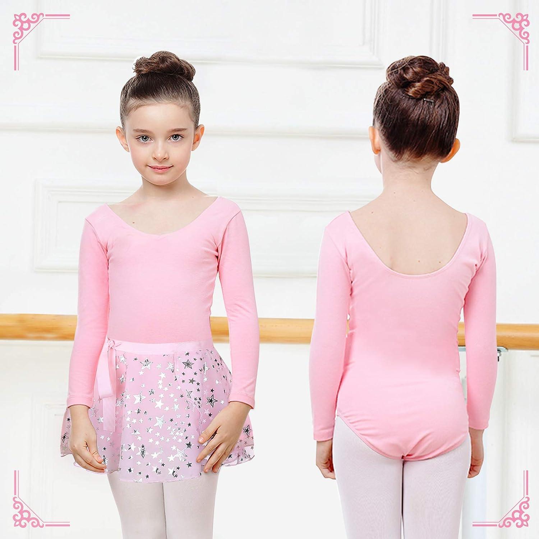 Kids Skirted Metallic Star Print Dancewear Unitards Girls Long-Sleeve Ballet Gymnastics Leotards