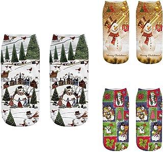 3 Pares Calcetines Cortos,3D Impreso de Navidad Santa Elk Suave Casual Unisex Calcetines Divertido Escotado Socking Santa Claus del Tobillo del Calcetín para Hombres Mujeres